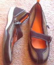 LANDS END 7.5 B Mary Jane brown suede and textile ballerina flats excell... - $19.43