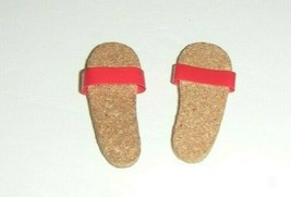 Vintage Barbie Ken's Original Outfit Cork Red Sandals 1961 - $9.90