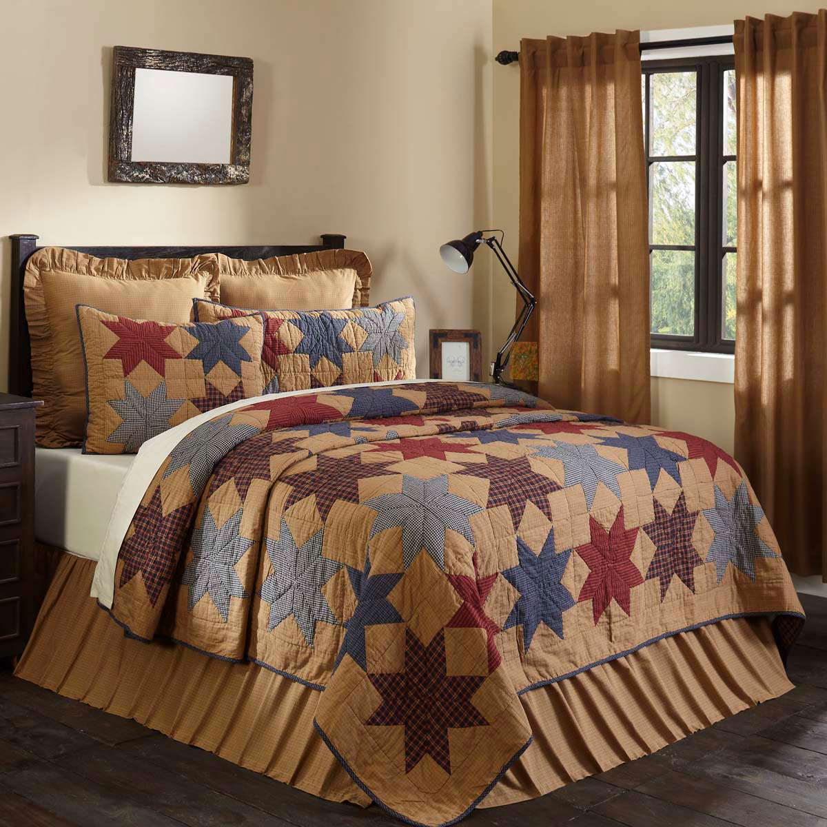 5-pc Kindred Star Queen Quilt Set - Bed Skirt, King Shams and Accent Pillow -VHC