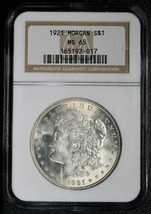 1921 Morgan Silver Dollar Beautiful White Coin PCGS MS65 Lot A 571