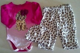 Girl's Sz 0-3 M Months 3 Pc Outfit Puppy The Chlidren's Place Top, Pants... - $13.00