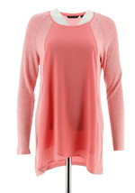 H Halston Super Soft Knit Scoop Neck Long Slv Top Passion Pink XL NEW A3... - $29.68