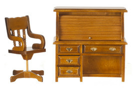 Dollhouse Miniature - WALNUT ROLLTOP DESK AND CHAIR SET - 1:12 scale - $32.99