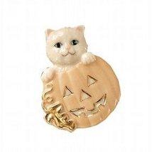NEW Lenox Fine China Accented W/ 24 Karat Gold Cat in Pumpkin Pin - $29.00