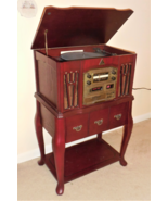 Stereo Turntable CD Player Cassette AM/FM Radio Chery Finish Wood Furniture - $72.75
