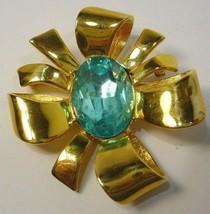 Joan Rivers BIG Blue  Rhinestone Brooch Pin - $43.56