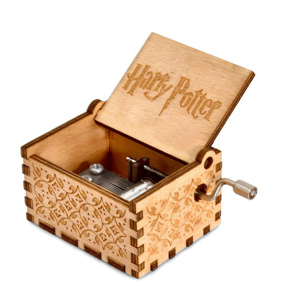 Harry Potter Engraved Wooden Hand Crank Music Box Boys Girls Toy Collectible
