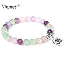 Charm Bracelets Natural Fluorite Bead Bangle Women Yoga Bracelet Fashion... - $3.03+