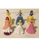 Disney Princess Figures Cake Toppers Lot of 6 Ariel Belle Cinderella Sno... - $14.99