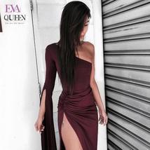Tobinoone Women One Shoulder Dress Skinny Split Flare Sleeve Evening Party Ankle - $41.14