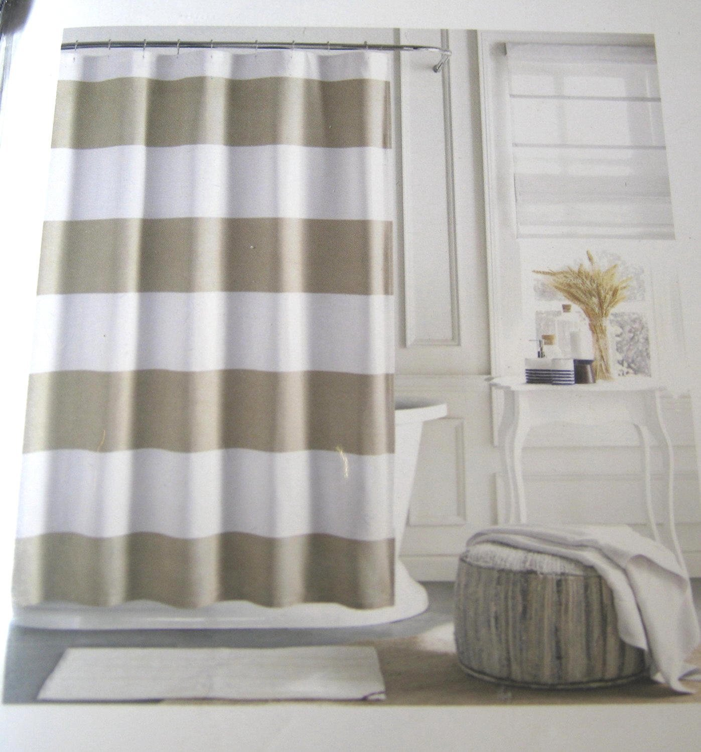 Tommy Hilfiger Cabana Stripe Tan Beige and White Shower Curtain