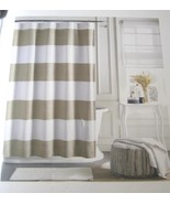 Tommy Hilfiger Cabana Stripe Tan Beige and White Shower Curtain - $34.00