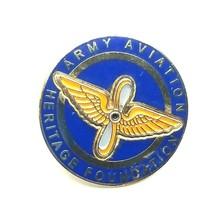 Army Aviation Heritage Foundation Lapel Pin Gold Tone Enamel Pin Blue Ye... - $5.51