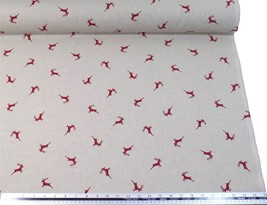 Stag Red Beige Linen Look High Quality Fabric Material *3 Sizes* - $1.79+