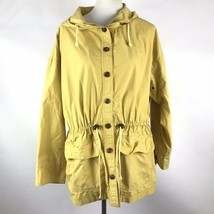 GAP Womens Anorak Jacket Coat Size Medium Yellow Hooded Long Sleeve - $39.59