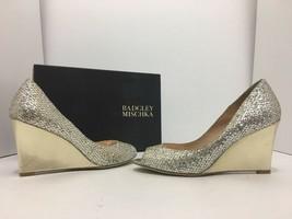 Badgley Mischka Awake Platino Glitter Women's Evening Wedge High Heels P... - $88.21