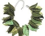 Sequin Leaf Bracelet Olive Green Leaves Silvertone Metal Chain Link Adjustable
