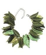 Sequin Leaf Bracelet Olive Green Leaves Silvertone Metal Chain Link Adju... - $4.99