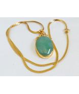 VTG 18k Yellow Gold Oval Green Jade & Diamond Pendant 14k Italian Chain ... - $2,376.00