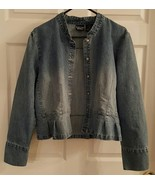 Crossing Pointe Indigo Denim Button Down Peplum Jacket  Large - $20.00