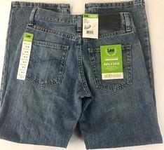 Lee Boys 12R Jeans Relaxed All Cotton Medium Wash Straight Leg Dark Wash... - $16.40