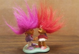 RUSS Trading Valentine's Troll Dolls Boy Magenta & Girl Red Hair Caketopper - $9.90