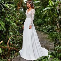Booma Boho Wedding Dresses Chiffon Lace Bride Gown V-neck Backless Long Sleeve C