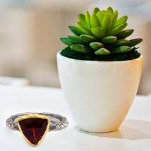 Shine Jewel 3.75 Ct NATURAL GARNET HAMMERED FINISH 925 SILVER VINTAGE Ring - $40.52