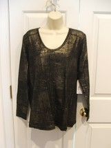 NWT $27  a.n.a BLACK FOIL metallic LONG sleeve tee TOP SIZE petite LARGE - $18.80