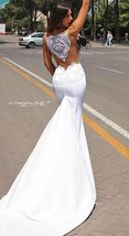 New Satin Mermaid Lace Appliques Sleeveless Princess Wedding Gowns image 3