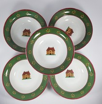 "Beautiful Set of 5 Block 7 1/4"" Country Village by Gear 1995 Soup Cereal... - $21.19"