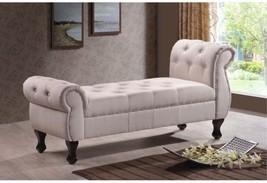 Baxton Studio Zook Light Beige/Grey Upholstered Modern Tufted Bench - $374.40