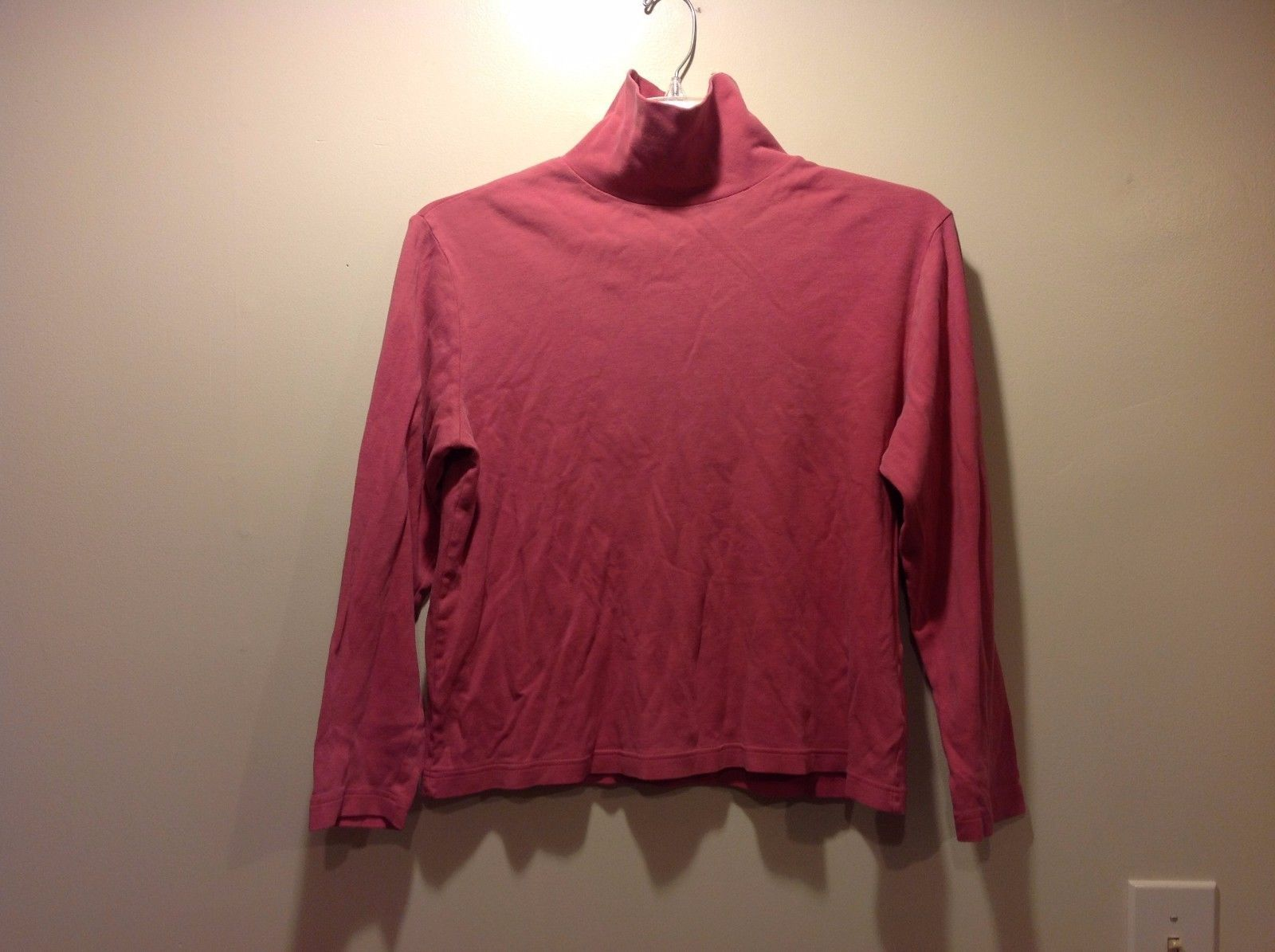 Ladies Simple Pink Long Sleeve Turtleneck by Basic Edition Sz L