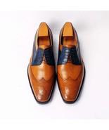 Handmade Men's formal Shoes, Men two tone Dress shoes, Men wing tip form... - $159.97+