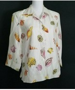 SZ S SILKLAND WHITE SEASHELL PRINT SILK SHIRT LINED BLOUSE JACKET - $32.45