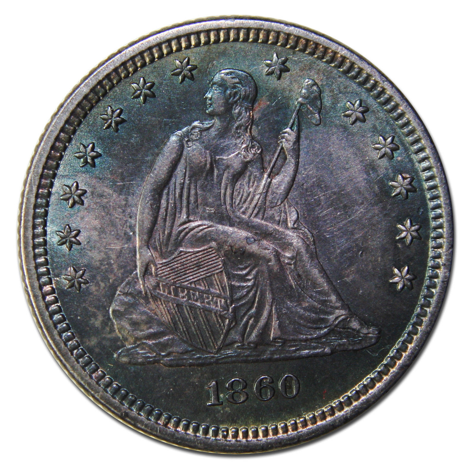 1860 Seated Liberty Quarter 25¢ Coin Lot# MZ 3745
