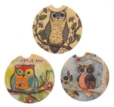Owl Stone Car Coasters Set 3 CounterArt Absorbent Wise Watchful Friend Hoot - $8.29