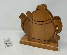 Amish Crafted Napkin Holder in Tea Pot Shape, Wooden, Maple Wood, Nice! - $43.99