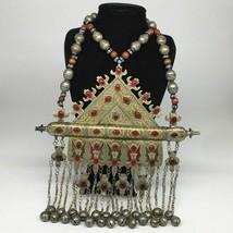 842g, Turkmen Necklace Old Vintage Huge Gold-Gilded Tomar Statement Boho, TN475 - $360.00