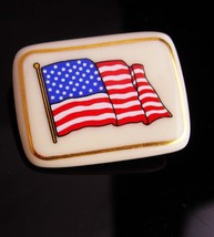 Lenox Flag brooch - Patriotic jewelry - 14kt gold trim - USA red white B... - $25.00