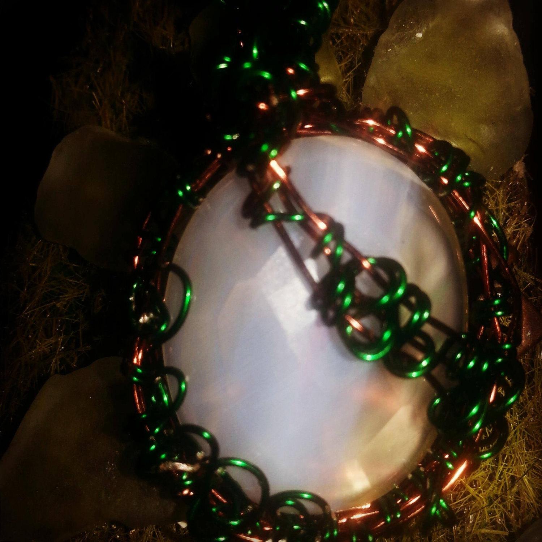 OOAK Handmade wire wrapped Onyx gemstone pendant - $55.00