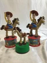 Disney Toy Story 2 Woodys Roundup Candy Dispenser 1999 McDonalds Bullseye 3 Toys - $30.00