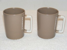 2016 STARBUCKS DIPPED TAUPE WITH WHITE HANDLE 12 oz COFFEE MUGS (G30) GUC - $24.99