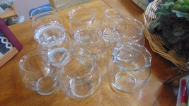 Glass Bowls or Jars 7 Ruffled Around Edge 2 Smooth-Wedding-Baby Showers- - $4.54