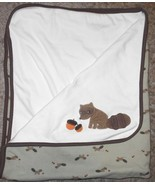 Gymboree Outdoor Whimsy Raccoon Baby Blanket Acorns Brown Cream Green Co... - $34.63