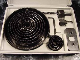 "16pc HOLE SAW KIT with CASE up to 5"" Big Drill Bit Set with Mandrels woo... - $18.99"