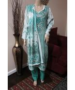 Pakistani Sea Green Printed Straight Shirt 3-Pcs  Arabic  Lawn Suit ,xl - $44.55