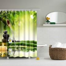 LFH Fabric Shower Curtain Spa Decor Green Yellow Mildew Resistant Bathroom Zen G - $37.99