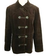 John Rocha Chocolate Brown Corduroy Military Toggle Jacket Pea Coat Park... - $33.00