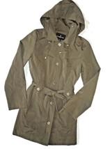 London Fog Trench rain dress Snap Coat w rem hood Fatigue Green OLIVE Me... - $109.35